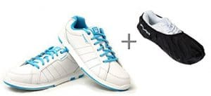 Chaussures de bowling, Brunswick Satin + Shoe Cover (überzieher) Brunswick Defense, dame, pour droitiers et gauchers, bleu/blanc, White/Aqua Chaussures Taille 35à 41 Blanc/Bleu 38 (US 8)
