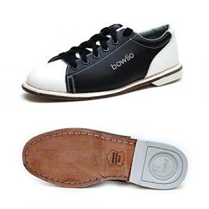 Bowlio Classic – Chaussures de bowling en cuir blanc et noir – Adulte et enfant, Pointure:44, Farbe (Schuhe):Noir/Blanc