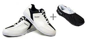Chaussures de bowling, Dexter Ricky III + Shoe Cover (überzieher) Brunswick Defense, Homme et Femme Chaussures, pour droitiers et gauchers, noir/blanc, Taille 38,5à 47 Noir/Blanc 41,5 (US 9)