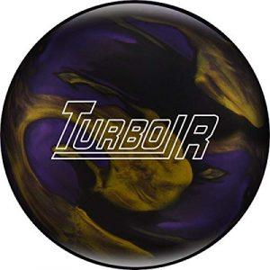 Ebonite Turbo/R – Noir/Violet/doré, Surface polie, Boule de Bowling réactive pour débutants et Joueurs de Tournoi – avec nettoyant de Balle EMAX 100 ML, 13 LBS