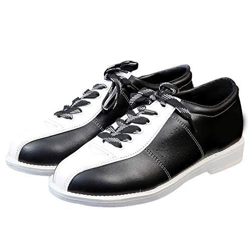 Cosay Chaussures de Bowling pour Homme et Femme Semelle antidérapante Chaussures de Sport Respirantes, Noir et Blanc, Taille 40