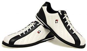 3G Kicks Chaussures de bowling, pour homme et femme, pour droitiers et gauchers, en 4couleurs, taille 36-48, blanc/noir, 43.5 (US 11)