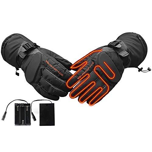 AUEDC Gants Chauffants, Gants Chauffants Batterie avec 3 Niveaux de contrôle de température et Marquage au Sol Bloc pour l'équitation extérieure pêche Ski randonnée pédestre Camping,M