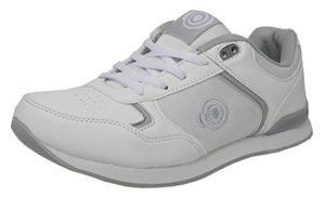 Chaussures de bowling pour femmes blanches, plates, semelle légère, à lacets – blanc – blanc,