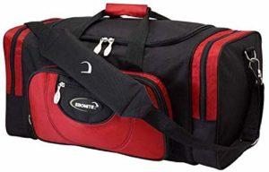 EMAX Bowling Service GmbH MAXIMIZE YOUR GAME Conquest Sac à Chaussures Double Tote Multi Sac à Chaussures pour Deux Boules de Bowling et Chaussures de Bowling, Noir/Rouge