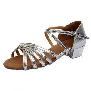 Routinfly Chaussures de Danse de Danse Latine, Boucle de Ceinture croisée à Talon Bas pour Femme, Chaussures de Danse d'exercice, Chaussures Individuelles M Argent