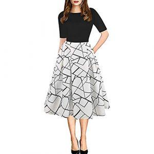 Showsing – Robe de fête Vintage pour Femme – Imprimé rayé – Col Rond – Style décontracté – Poches Patchwork – Beige – Taille Unique