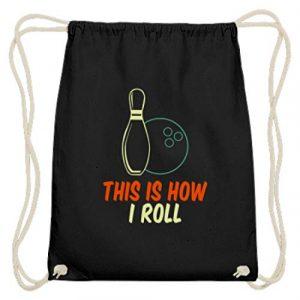 SPIRITSHIRTSHOP Spirit This Is How I Roll Boule de bowling et cône de bowling en coton – Noir – Noir, 37cm-46cm