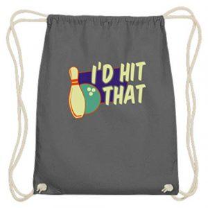 SPIRITSHIRTSHOP Spiritshop I'd Hit That Boule de bowling et cône de bowling en coton – – Gris graphite, 37cm-46cm