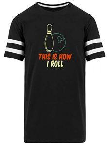 SPIRITSHIRTSHOP This How I Roll Boule de Bowling et cône de Bowling pour Homme Striped – Noir – Small