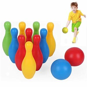 Kids Bowling Set, Kids Outdoor Indoor 10 pin Bowling Game Skittles Bowling Set for Kids Over 3 Years Colorful with 10 Animal Pins 2 Balls