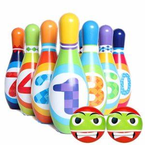 Lot de 12 épingles de bowling pour enfants avec boule de bowling