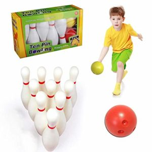thelastplanet Kids Bowling Set 10 Pins and 2 Balls Outdoor Indoor Bowling Game Toys with 10 Pins 2 Balls for Children Toddlers Boys Girls
