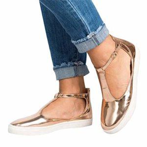 Alaso Mary Janes Femme, Soldes Pas Cher Vintage Bride à la Cheville Chaussures Plates Mocassins Espadrilles Loafers Chaussures de Conduite