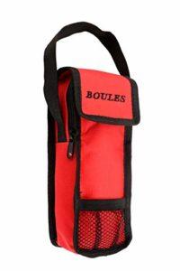 Engelhart Sacoche de Jeu de Boules de pétanque Rouge à glissière et Velcro Ouverture par Le Haut, Rangement pour 3 Boules de Taille Standard. Taille : 23 x 8.5 x 5 cm