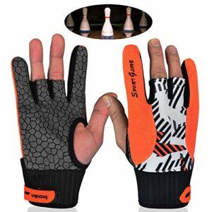 TZTED Grip Bowling Gant de Boule de Bowling Support de Poignet Confortables Gants de Sport Semi-Doigt Mitaines,Orange,M