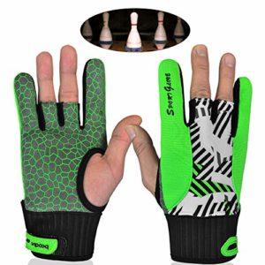 TZTED Grip Bowling Gant de Boule de Bowling Support de Poignet Confortables Gants de Sport Semi-Doigt Mitaines,Vert,L