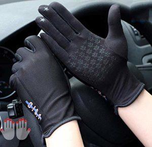 YJF Gants de Conduite pour Hommes Femmes Coton Antiderapant Gants écran Tactile UV Protection Contre Le Soleil pour Le Cyclisme Moto Camping,Noir
