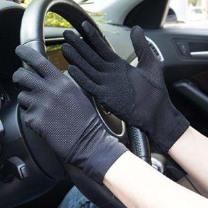 YJF Gants de Protection Solaire pour la Conduite et Les Gants d'équitation d'été Protection UV pour l'extérieur Écran Tactile,Noir