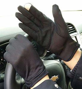 YJF Protection Gants de Protection Solaire UV Sunblock Gants Gants écran Tactile pour l'été Conduite Équitation,Noir