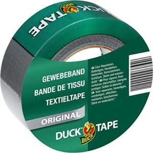 DUCK TAPE original 106-00 – Bande adhésive de tissu – Pour réparer, fixer et renforcer – Dimensions : 50 mm x 50 m – Couleur argent