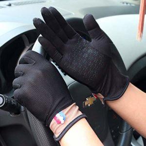 YJF Gants de Conduite pour Hommes et Femmes Coton Antiderapant Protection UV Tactile Soleil Respirant Gants pour l'été,Noir