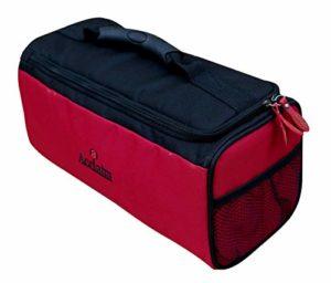 Acclaim Leyburn Sac de bowling 3 gamelles rembourrées en nylon pour intérieur et extérieur Vert, Bordure rouge/noir.