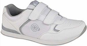 Dek Chaussures de bowling pour homme et femme – – Fermeture tactile blanche pour homme., 45 EU