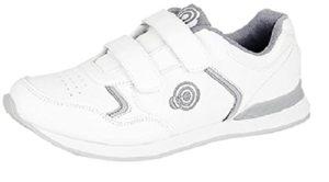 DEK Femmes SKIPPER femmes Fermeture scratch Chaussures De Bowling/Chaussures Blanches/Gris – Blanc/PU Gris/Textile, EU 40