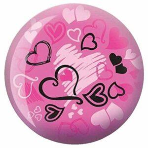 Brunswick Hearts Glow Viz-A-Ball Boule de bowling, Brunswick Bowling Products, rose/noir, 6 lb