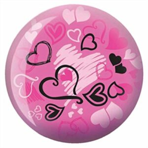 Brunswick Hearts Glow Viz-A-Ball Boule de bowling, Brunswick Bowling Products, rose/noir, 8 lb