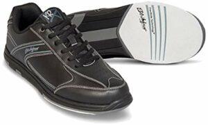 Emax KR Strikeforce Flyer Chaussures de bowling pour homme et femme pour droitier et gaucher 6 couleurs Pointure 38-48 au choix avec désodorisant à chaussures Titania Foot Care, Noir , US 7 (39,5)