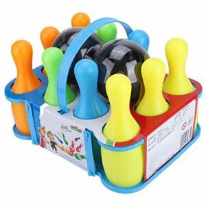 VGEBY Boule de Bowling Jouets de Bowling colorés Ensemble de Bowling pour Enfants 10 épingles et 2 Boules(SS983-6(15.5CM))