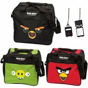 Angry Birds Sac de bowling et de chaussures avec étiquette d'adresse Vert