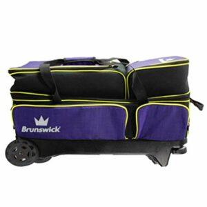 Brunswick Crown Deluxe Sac de bowling à roulettes Violet/jaune
