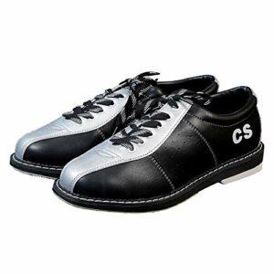 FJJLOVE Chaussures Bols Femmes Hommes, léger en Cuir véritable Respirant Bowling Formateurs intérieur en Plein air Chaussures de Sport Non-Slip,Argent,42