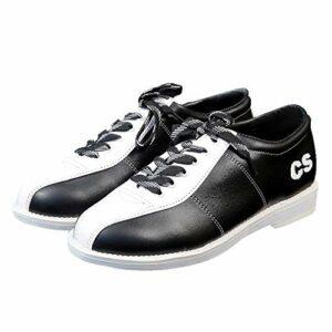 FJJLOVE Chaussures Bols Femmes Hommes, léger en Cuir véritable Respirant Bowling Formateurs intérieur en Plein air Chaussures de Sport Non-Slip,Blanc,42