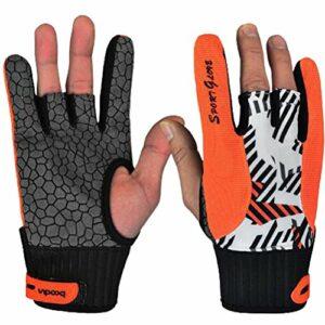 1paire de gants professionnels de bowling antidérapants Accessoires confortables avec doigts exposés M Orange