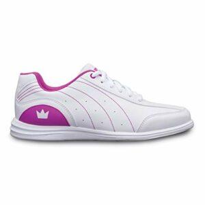 Brunswick Bowling Products Chaussures de Bowling Mystic pour Fille 02 (Jeune), Blanc/Fuchsia, 2
