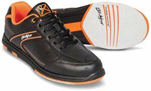 Emax KR Strikeforce Flyer Chaussures de bowling pour homme et femme pour droitier et gaucher 6 couleurs Pointure 38-48 au choix avec désodorisant à chaussures Titania Foot Care 47 Orange sans spray