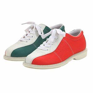 FJJLOVE Chaussures De Bowling pour Hommes, Dentelle Baskets De Bols Décontractés Bols Respirants Formateurs Sportifs,Rouge,38