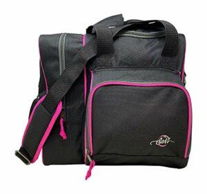 SaVi Sac fourre-tout de luxe Noir/rose Peut contenir 1 balle de bowling, 1 paire de chaussures de bowling et une poche avant pour accessoires