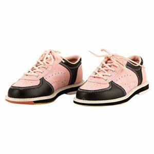 FJJLOVE Chaussure de Bowling pour Femmes pour Hommes, Chaussure intérieure Casque légère Chaussures à Lacets Plats à Semelle Plate Chaussures pour Unisexe,Rose,39
