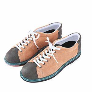 FJJLOVE Chaussures De Bowling pour Hommes, Baskets De Bol Légers sans Glissement Baskets De Bowling Intérieur Confort Chaussures De Sport,Marron,44