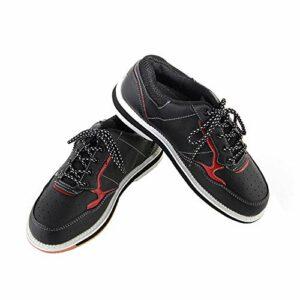 FJJLOVE Chaussures De Bowling Unisex, Hommes Femmes Bouton Léger Boîtiers Boîtiers De Bowling Intérieurs Antidérapants,Noir,40