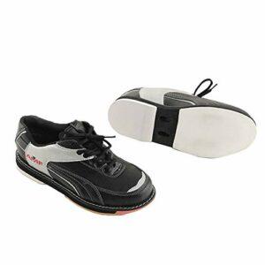 FJJLOVE Chaussures De Bowling pour Hommes, Bols en Cuir Baskets sans Glissement De Bols À Lacets Léger De Lacets De Boules De Bowling pour Unisexe,Noir,43