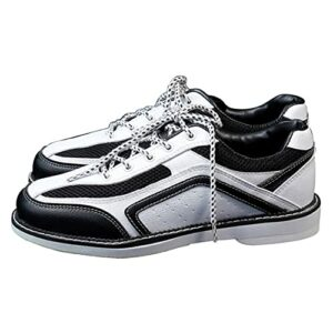 WJFGGXHK Chaussures De Bowling pour Hommes Bowling Léger Baskets De Sport Chaussures De Bowling en Cuir avec Semelles Coulissantes,Blanc,44 EU