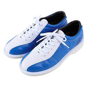 WJFGGXHK Mens Bowling Chaussures Cuir Bols Chaussures Légers Entraîneurs De Bowling Respirant Unisexe,Bleu,37 EU