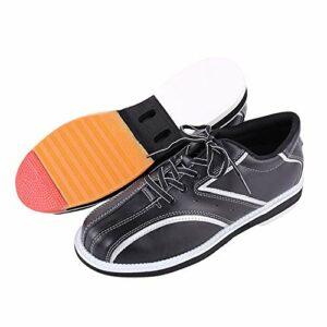 Bowling Hommes Bowling, Bols en Cuir Synthétique Chaussure Sneakers Athlétiques À Lacets Léger,Noir,39