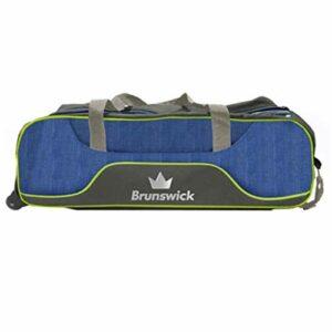 Brunswick Crown Sac de bowling à roulettes pour 3 boules Bleu marine/vert citron